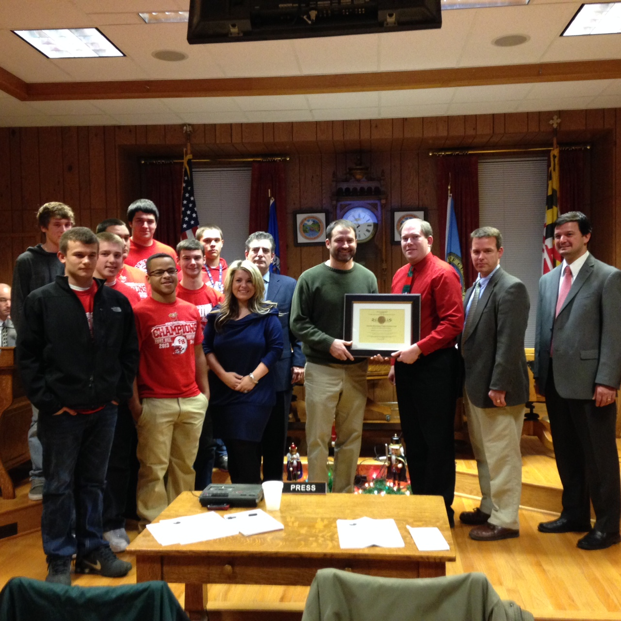 Mayor Grim Presents a Certificate of Recognition to Top Coach Todd Appel and the Fort Hill High Scho