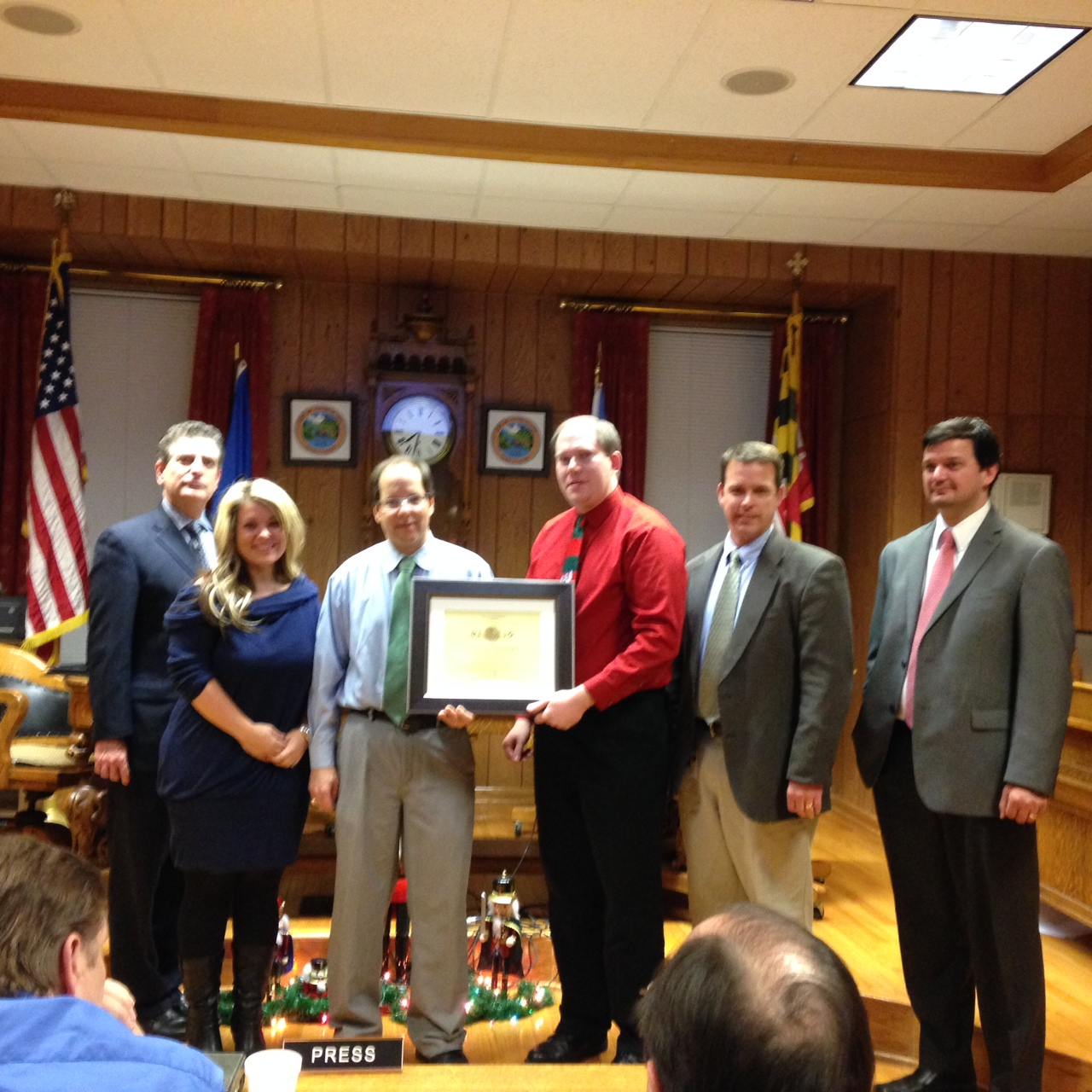 Mayor Grim Presents a Certificate of Recognition to Larry Jackson, Director of the Allegany High Sch
